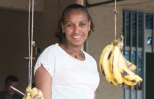 Bezina Abinet (28) pictured in her shop in Dodata, Oromia, Ethiopia, 2017.