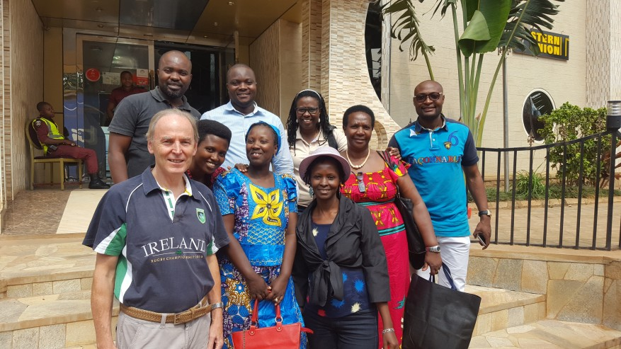 Bernard O'Connell of Traidlinks is pictured with African women entrepreneurs from Burundi on a trade mission to Democratic Republic of Congo in September, 2016.