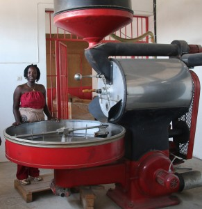 Diane Nsengiyumba, proprietor of 'Shambo Coffee' in Burundi is pictured in her coffee roasting plant in Burundi. With support from Traidlinks and Trademark East Africa, Diane is selling her roasted coffee to markets in Democratic Republic of Congo and Tanzania. Main Image: Bernard O'Connell of Traidlinks with African women entrepreneurs from Burundi on a trade mission to Democratic Republic of Congo in September, 2016.