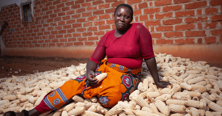 Lilian sitting with her maize