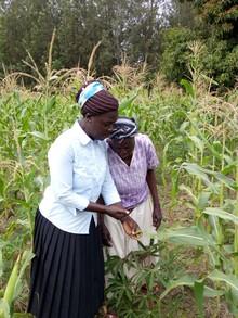 Rosalind and Emiliana using the Nuru AI tool on a farm in Kenya.