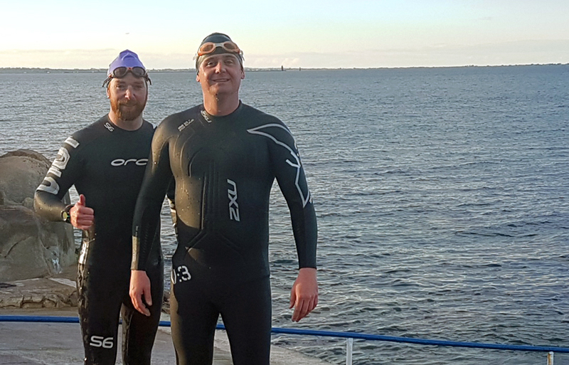Two friends are swimming through the shark-infested waters from Alcatraz to San Francisco for Self Help Africa.