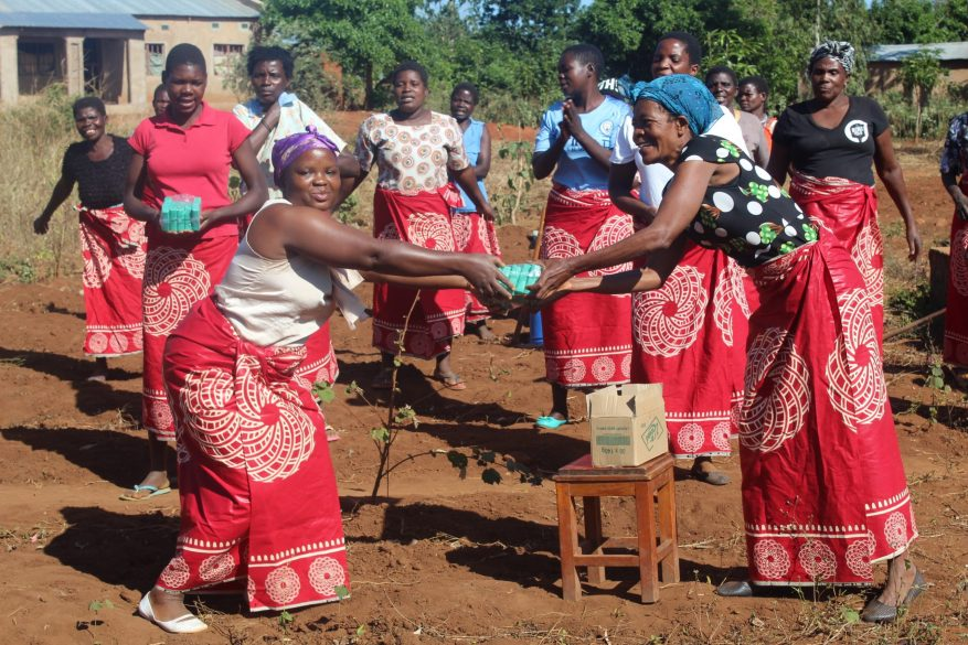 Women in Malawi with hand soap